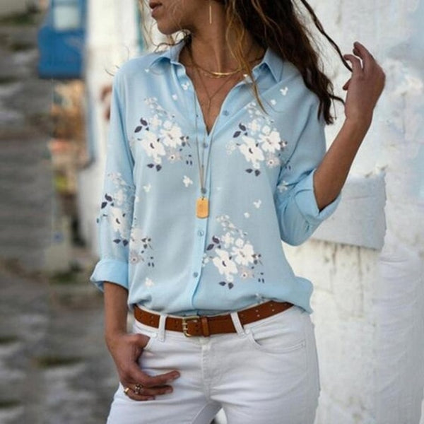 Women Elegant Long Sleeve Print V-Neck Chiffon Blouse  Size 5XL Light Blue with White Flowers
