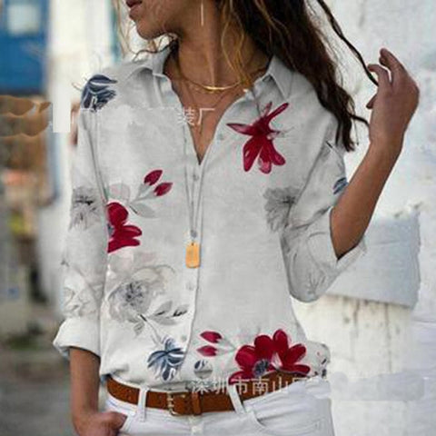 Women Elegant Long Sleeve Print V-Neck Chiffon Blouse  Size 5XL White with Red Flowers