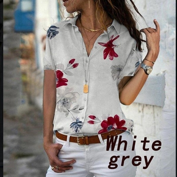 Women Elegant Short Sleeve Print V-Neck Chiffon Blouse  Size 5XL White Grey with Red Flowers