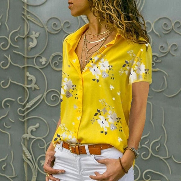 Women Elegant Short Sleeve Print V-Neck Chiffon Blouse  Size 5XL Yellow with White Flowers