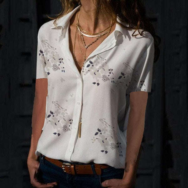 Women Elegant Short Sleeve Print V-Neck Chiffon Blouse  Size 5XL White Grey Flower Design