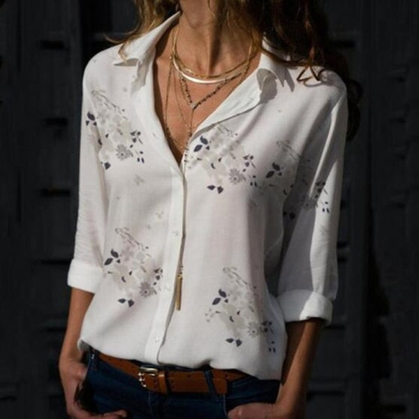 Women Elegant Long Sleeve Print V-Neck Chiffon Blouse  Size 5XL Whtie with Grey Flowers