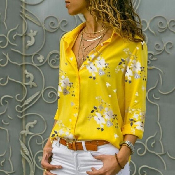Women Elegant Long Sleeve Print V-Neck Chiffon Blouse  Size 5XL Yellow with White Flowers