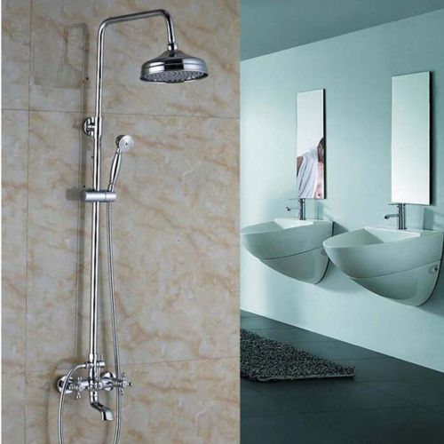 Polished Chrome Rainfall Faucet, Dual Mixer Tap With Hand Sprayer Wall Mounted Bath Shower Sets