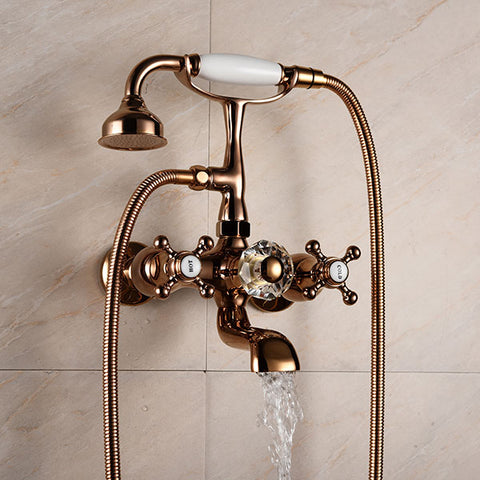 Luxury Rose Gold solid Brass Bathroom Bath Wall Mounted Faucet with Hand Held Shower