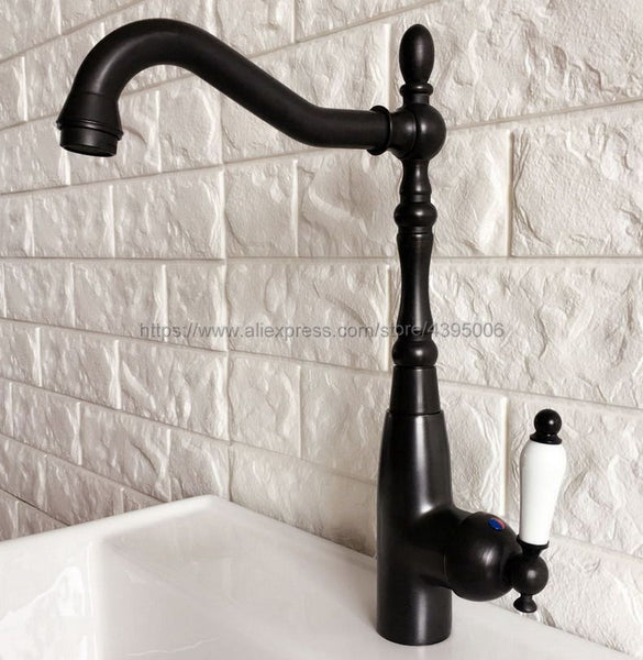 Black Oil Rubbed Brass Basin Swivel Spout Bathroom/Kitchen Faucet Mixer Tap Deck Mounted