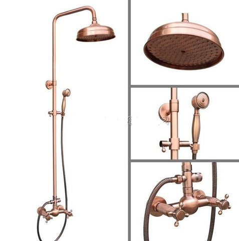 "Wall Mounted Antique Red Copper 8"" Shower Head Rain Shower set"