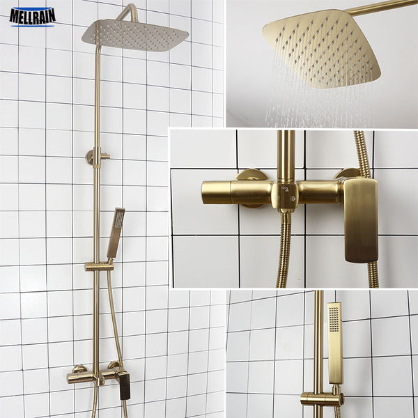 Bathroom Rain Shower Set Brushed Gold And Black Solid Brass Bath Shower Faucet Quality Wall Mounted Water Mixer Bath System