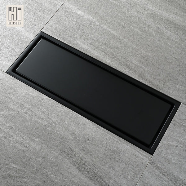 HIDEEP 30X11 Cm Anti-Odor Black-Paint Stainless Steel Linear Floor Drain