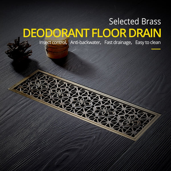 10*30CM Euro Antique Brass Carved Floor Shower Waste Drain DL8547