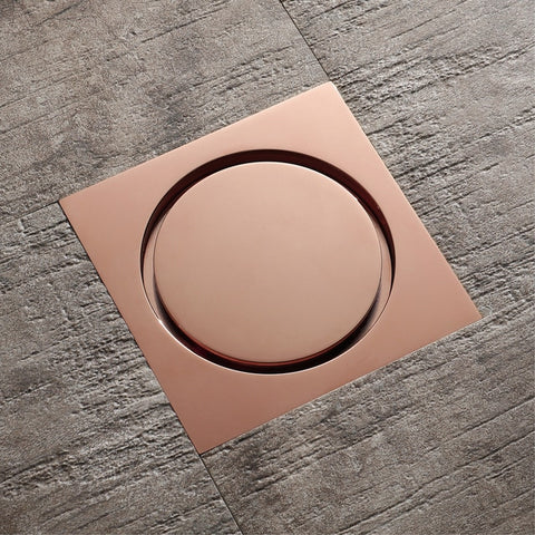 HIDEEP Floor Drain Brass Rose Gold Square 10x10cm Bathroom Shower Waste Grates