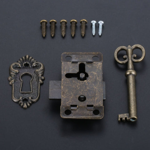 Antique Iron Door Lock Drawer  Cabinet  Lock + Key Furniture  Silver/Black
