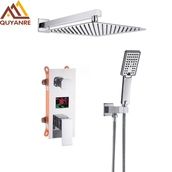 Chrome Digital Shower Faucet Set LCD 2-way Mixer Tap