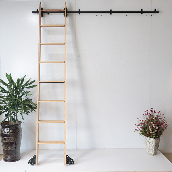 3.3ft 6.6ft 9.9ft 13.2ft Rustic Black Round Tube Sliding Barn Ladder Library Hardware