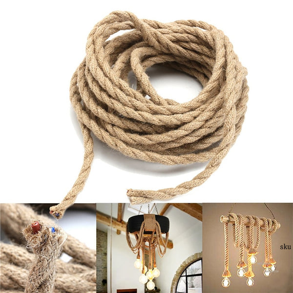 Nordic Hemp Rope Braided Twisted Lighting American Style Cable Hanging  Woven Silk Flexible Wire Cord