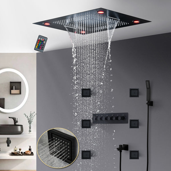 Matt Black LED Recessed Ceiling Shower Faucets Set