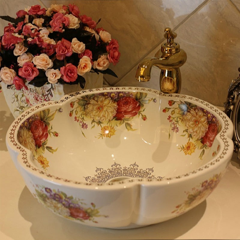 Rose Flower Ceramic Counter Top Wash Basin