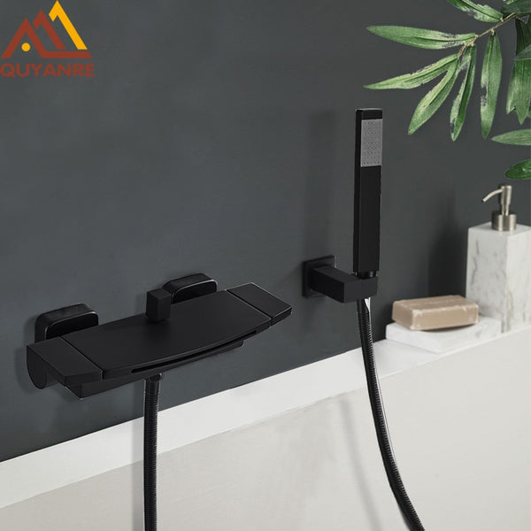 Black Waterfall Bathtub Shower Faucets Wall Mount