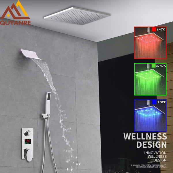 Luxury LED Rainfall Waterfall Shower Faucet Kit LED  LCD Digital Display