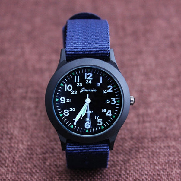 Quartz canvas electronic wrist watch
