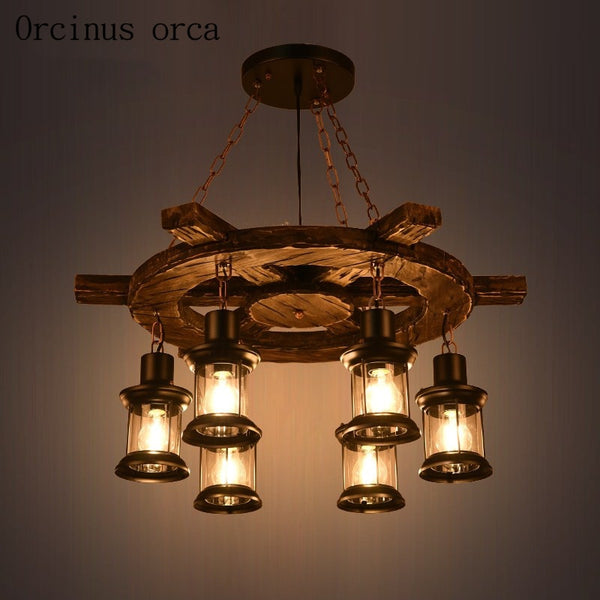 American style retro industrial solid wood chandelier creativity ceiling light
