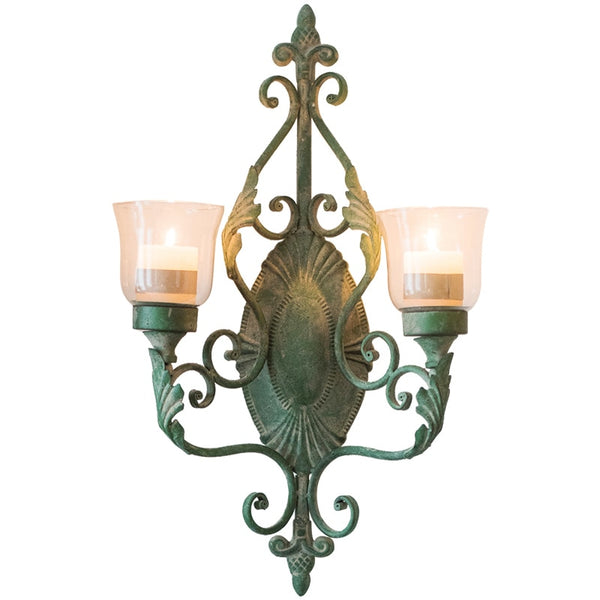 Large Retro French Wrought Iron Wall Hanging Candle Holder for Garden Courtyard  FC380