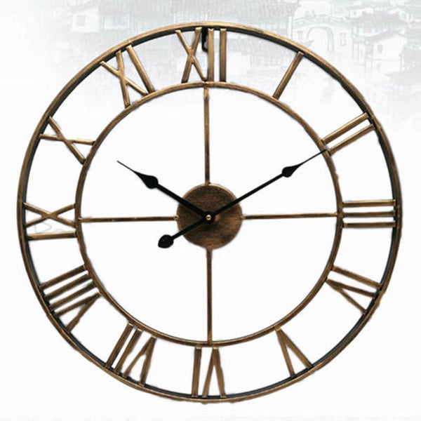 Nordic Roman Numeral Iron Round Art Black Gold Large Outdoor Garden Clock 40/47CM