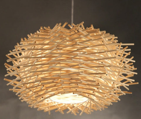 Nordic Creative Wood Pendant bird nest shape hanging Lamp