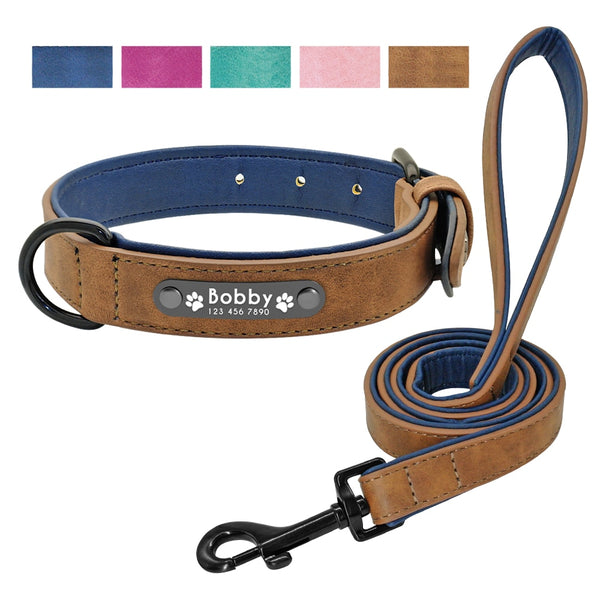 Leather Dog Collar Leash Set Personalized Customized Dogs Collars 2 Layer Leather Dog Leash