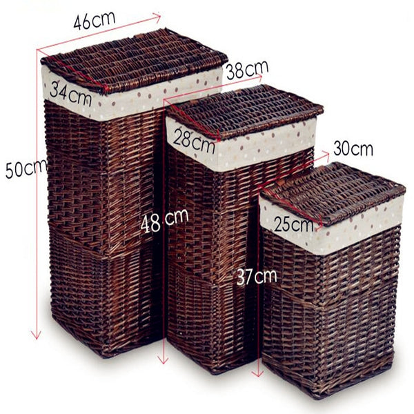 Boiled steamed willow storage basket rattan hamper/basket  with lid S M L