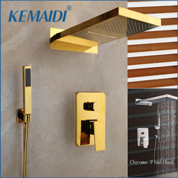 KEMAIDI Chrome & Golden Plated Bathroom Shower Hand 2 Functions  Rainfall Waterfall Shower Set