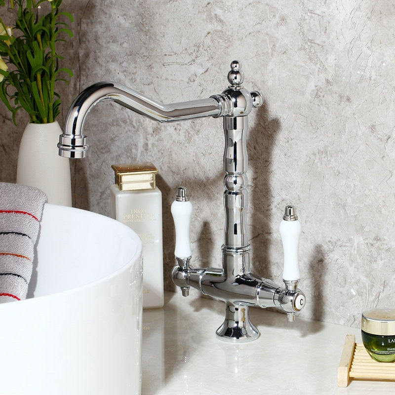 KEMAIDI  Bathroom Sink Basin Faucet Deck Mount Bright Chrome Swivel  Washing Basin Mixer Water Taps 360 Swivel 2 Handles Tap