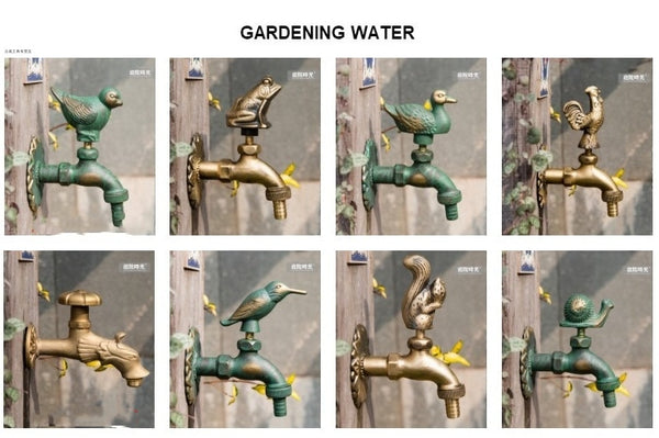 "Decorative Antique Brass Garden Outdoor Faucet Cold Water Tap - With a Set of Brass Quick Connecter for 1/2"" Inches Hose"