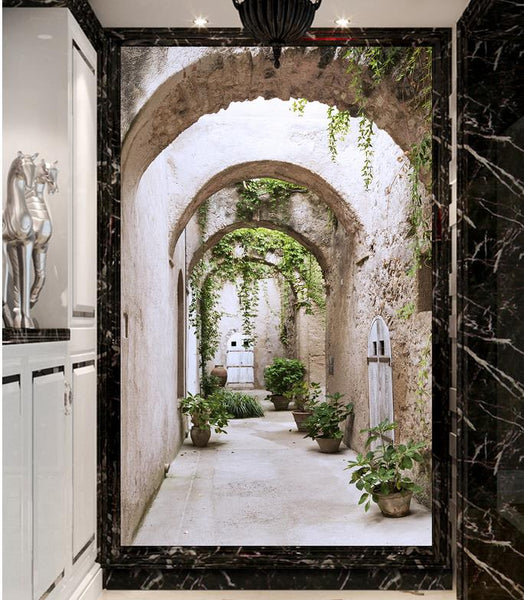 3d wallpaper for room European-style arches leafy backdrop custom 3d photo wallpaper