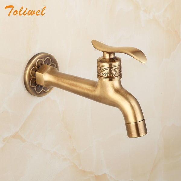Extra Long Antique Artistic Lever Wall Mount Garden Laundry Washing Machine Faucet Tap