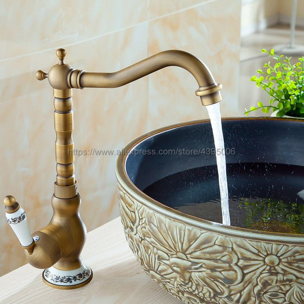 Kitchen Faucets 360 Swivel Antique Brass Porcelain Mixer Tap  Bnf510