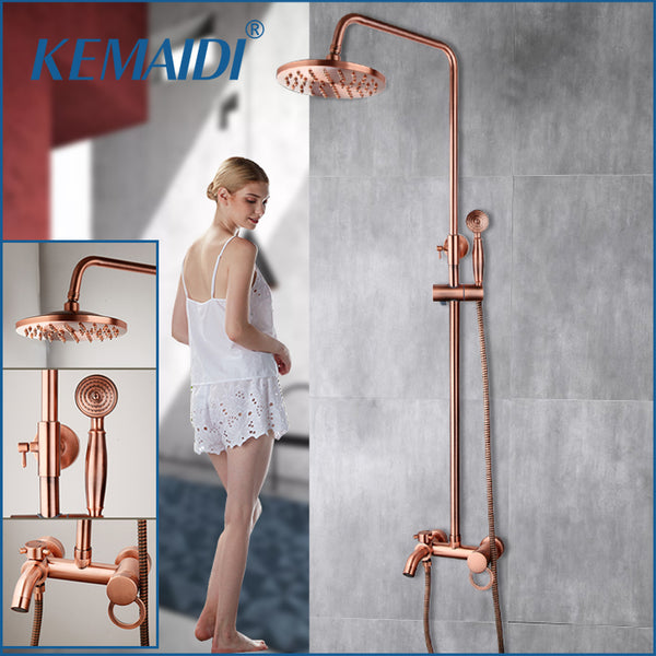 KEMAIDI Bathroom Shower Faucet Bath Faucet Mixer Tap With Hand Shower Head Rose Gold Shower