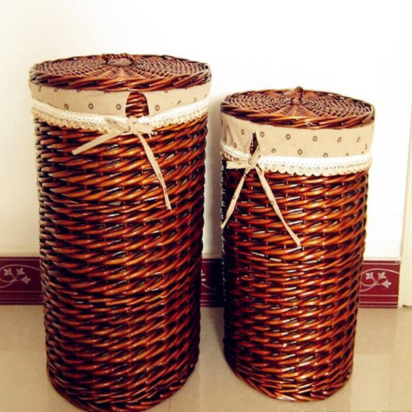 Eco-friendly Baskets  Wicker Storage Basket Round Shape Large Capacity with Cover