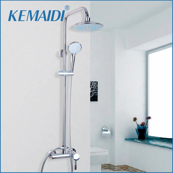 KEMAIDI Polished Chrome Bathroom Rainfall Shower Head Waterfall Shower Sets