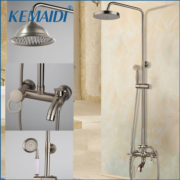 KEMAIDI Wall Mounted Shower Faucets Set Nickel Brushed Adjustable Rain Shower