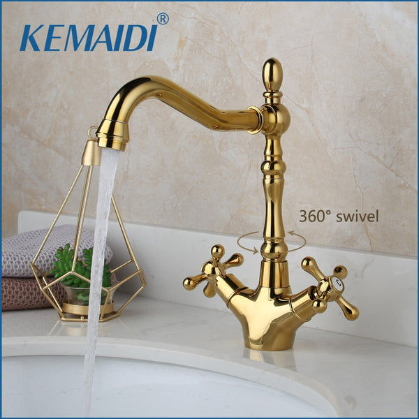 KEMAIDI Golden Swivel Antique Brass Stream Rotated Kitchen Bathroom Mixer Dual Handles Deck Mount Hot Cold Water Taps