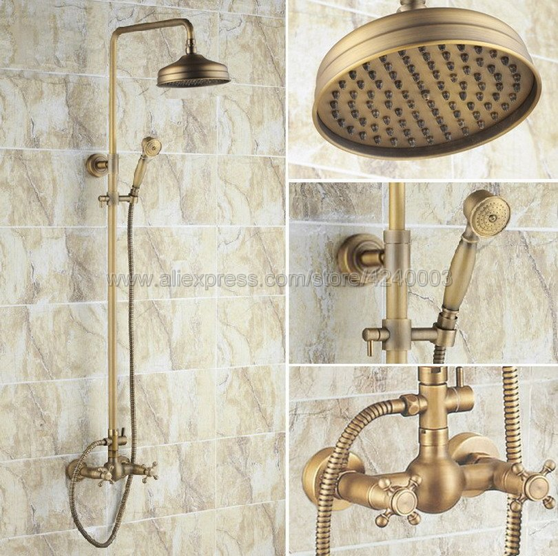 Antique Brass Wall Mounted Bathroom Shower Faucet Mixer Taps Dual Handle with Hand Held Shower Krs034