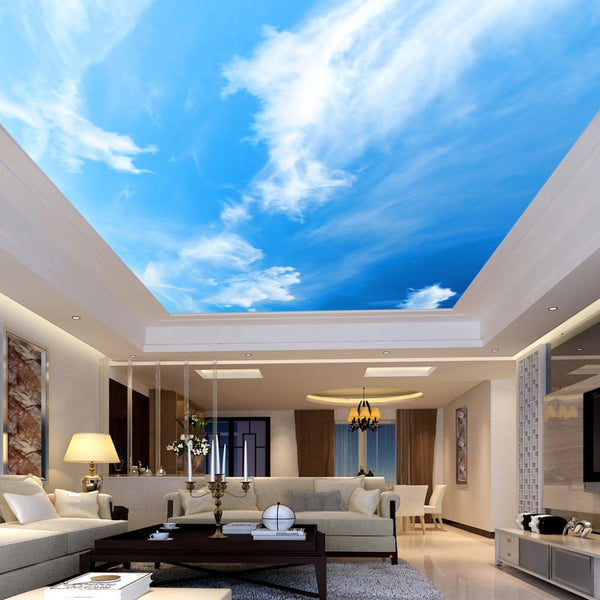 Custom Design 3D Photo Wallpaper Blue Sky And White Clouds Ceiling Mural Non-woven Wallpaper