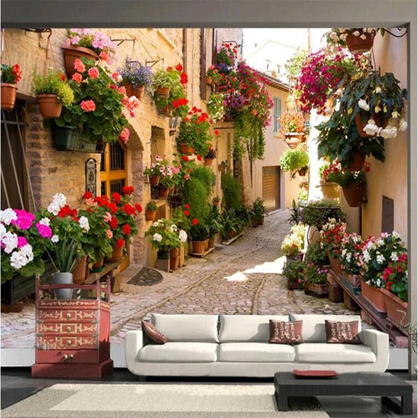 3D Mediterranean landscape architecture bedroom living room wall paper