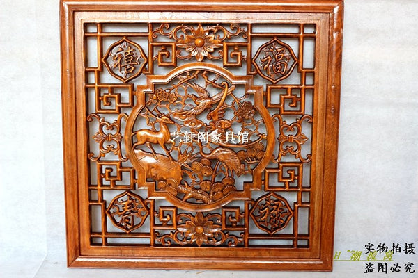 Dongyang woodcarving doors and Windows partition wall hanging antique entrance square camphor wood pendant 60cm fortune