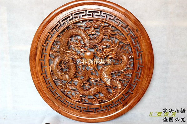 Dongyang woodcarving  partition wall hanging screen Chinese antique wood circular pendant 80cm