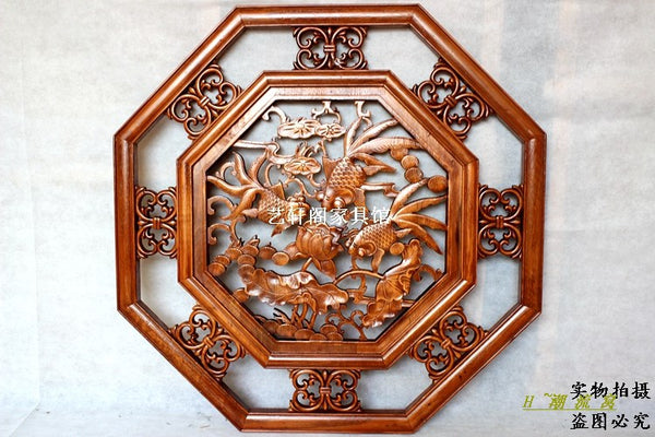 Dongyang woodcarving doors and Windows partition wall hanging screen Chinese antique camphorwood octagonal pendant 80cm jinyuman