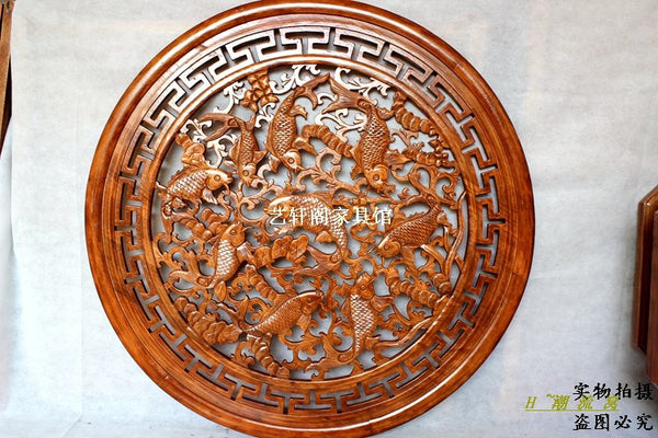 Dongyang woodcarving partition wall hanging Chinese Antique Wood Round Pendant 1 m