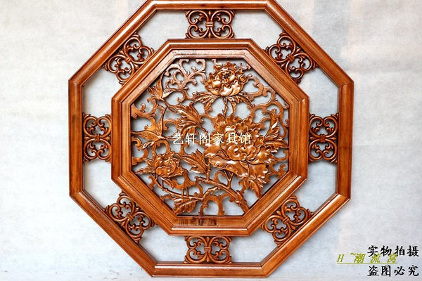 Dongyang woodcarving doors and Windows partition wall hanging screen Chinese antique camphorwood octagonal rich flower pendant 8