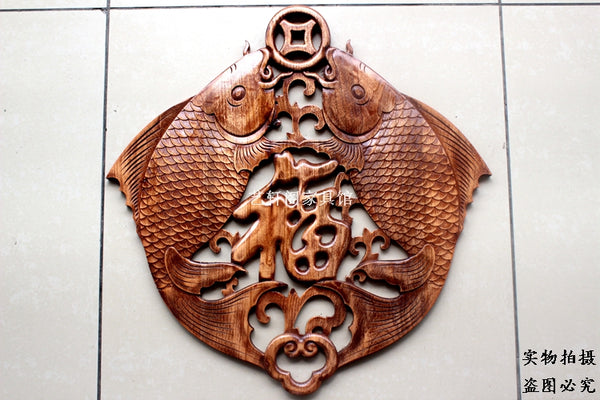 Dongyang woodcarving doors and Windows partition wall hanging Chinese antique camphor Muyu pendant.